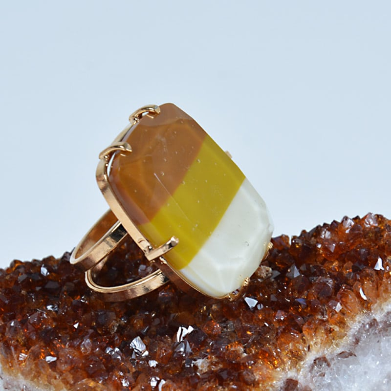 Anel Vidro Tricolor Dourado